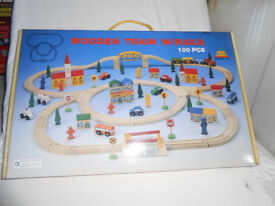 Wooden Train Set 100 pieces - new in box