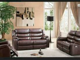 NEW Italian brown leather 2 + 1 seater recliner