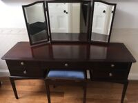 Vintage Stag Minstrel 5 drawer dressing table with triple mirror and stool