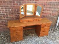 Solid pine dressing table with triple mirror and drawers..A