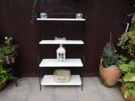 BOOKCASE / SHELVES , WROUGHT IRON AND PINE , SHABBY CHIC