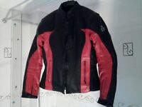 Ladies red and black leather motorcycle jacket
