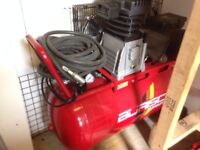 BURISISCH AIR COMPRESSOR 3 HP 90L BELT DRIVE LIKE NEW PLUS TOOLS