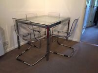 Table and 4 chairs, dinning set, chrome & transparent