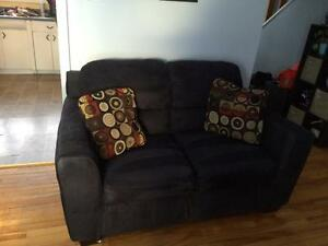 Microfiber sofa and loveseat