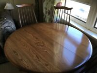 Extending Ercol Dining Table And Four Goldsmith Chairs