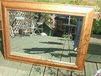 FINE LARGE ORNATE VINTAGE GILT WOOD ,MIRROR, BEVELLED EDGE TO GLASS