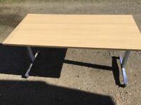 Beech 1.5m folding table on wheels