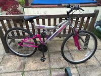 Mountain Bike 18 speed dual suspension silver and pink excellent condition