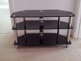 Black glass and chromeTV stand