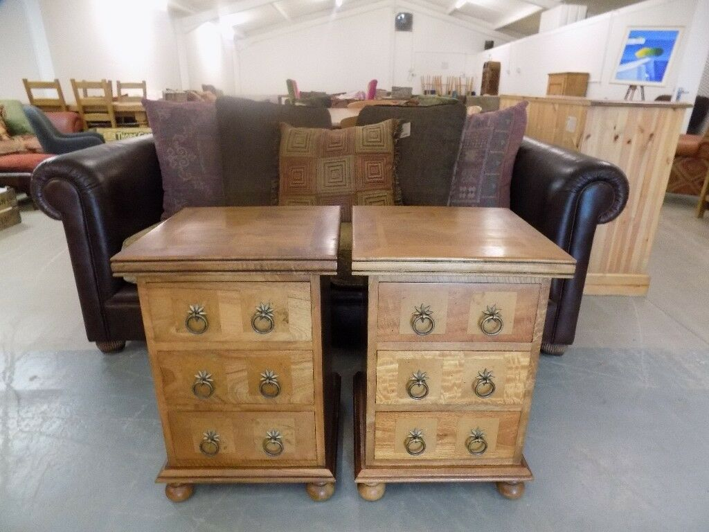 2 X Barker Stonehouse Flagstone Bedside Cabinets
