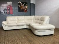 WHITE HARVEYS LEATHER CORNER SOFA IN EXCELLENT CONDITION