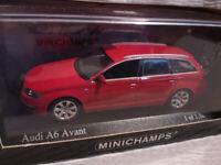 Paul's Model Art Rare Minichamps Die cast Car. Audi A6 Avant Red 2004 1:43