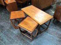 Teak Nest of Tables : 1 Long + 2 Small. Retro Vintage Mid Century