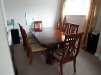 Inlaid Dinning Room table with 8 chairs (Allders of Croydon)