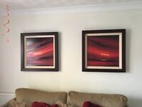 2 limited edition Jonathan shaw red abstract landscape prints in bespoke dark wood frame