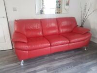 Modern 3 Seater Red Leather Sofa from Furniture Village