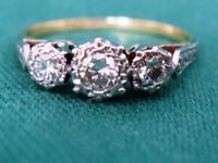 High Quality Vintage 18ct Gold & Platinum Diamond Ring size L