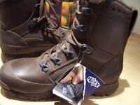 HAIX COMBAT HIGH LIABILITY BROWN BOOTS - NEW WITH TAGS - SIZE 6M