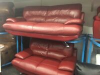 NEW / Ex DISPLAY Real Leather Samara 3 Seater + 2 Seater Sofa