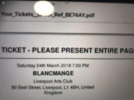 Two Blancmange Concert Tickets, Liverpool Arts Club
