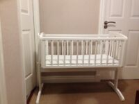 Mothercare swinging crib - white