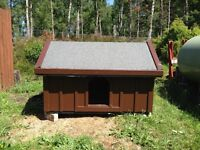 Wooden out door dog kennel.