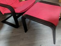 IKEA POANG chair and footstool set Red and Black