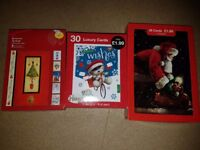 3 packs of christmas cards & light up snowmen decorations
