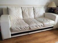 3 & 2 seater white leather sofas