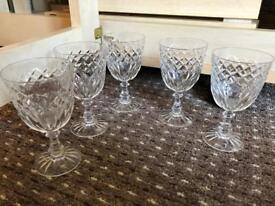 X5 matching Edinburgh Cut Crystal Small Wine Glasses