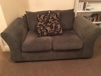 Two seater grey fabric sofa, very good condition from smoke free home