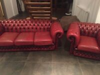Vintage chesterfield leather sofa and chair