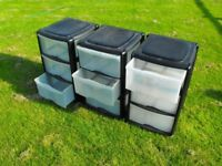 3 x Moveable 3 DRAWER STOREAGE UNITS in Black with clear fronts 650x380x380mm