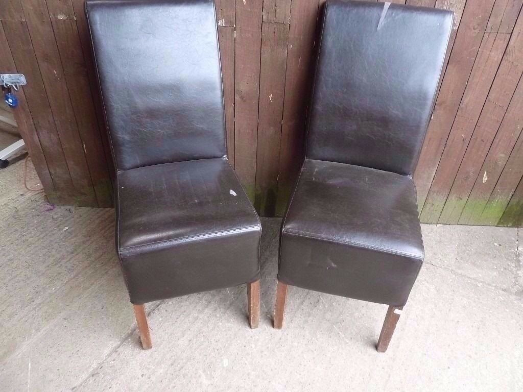 Dining Chairs 2 x High Back Leather a few Marks Delivery Available £7.50