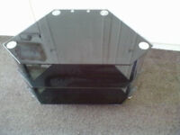 Black Glass 3 Tier Tv Table - Roundhay Park Leeds 8 - Can Deliver