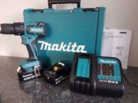MAKITA DHP459 18v LXT BRUSHLESS LI-ION COMBI DRILL, 2x3ah,charger, AS BRAND NEW ,,,,DeWALT