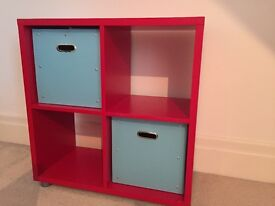 Red 2 x 2 storage cube /bookcase with 2 blue storage boxes ideal for boys room/play room London SW15