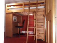 Solid pine, standard single, cabin bed with desk and drawers