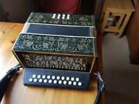 VINTAGE POKERWORK 2 ROW BUTTON ACCORDION MADE IN GDR