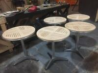 Oak Top Round Patio Tables x 5