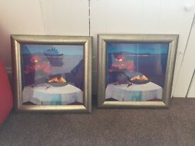 2x framed prints. Light grey frame