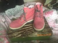 Pink Real timberlands size 5 hardly worn