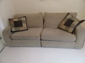 cream three and two seater settees