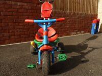 Berchet Baby Driver Trike, Adjustable Seat, Lockable Steering, Removable Parent Handle, Rear Bucket