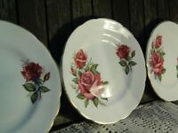 Royal Vale Pink Roses Tea/Side/Bread Plates with 22KT Gold Rim x 6