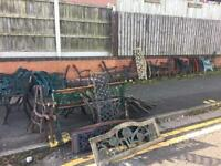 Original cast iron garden bench ends over 100 sets available from £17.50