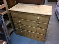 SOLID OLD PINE CHEST OF FOUR DRAWERS PANELLED BACK