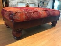 Vintage, Tetrad style Leather and Fabric Footstool
