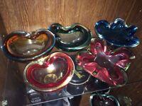 7 Large Cased Murano Glass Ashtrays - Vintage Retro